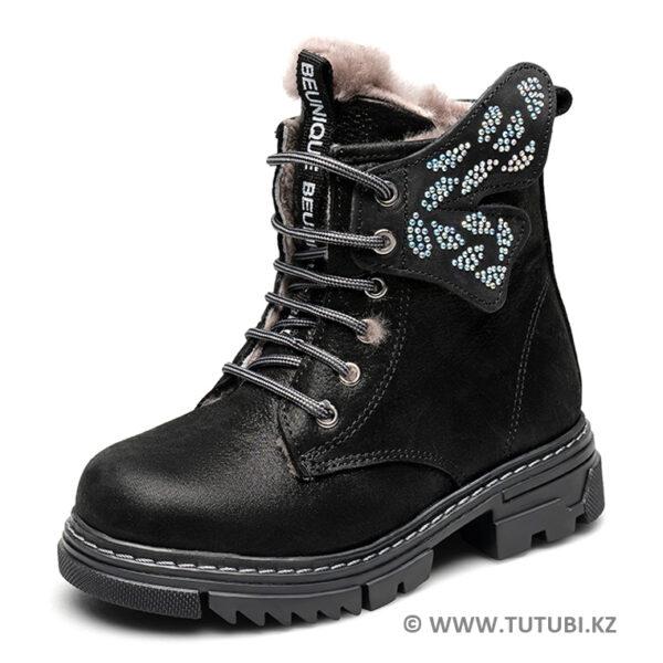 Ботинки из натурального меха и нубука черные MP002XG01DJ4R