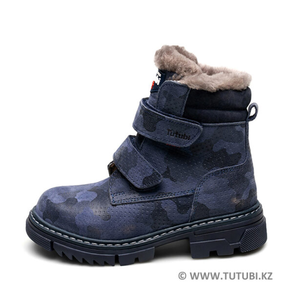Ботинки из натурального меха и нубука синие MP002XB00SRMR