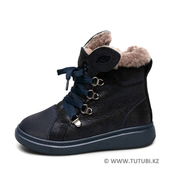 Ботинки из натурального меха и нубука синие MP002XG01DJ2R