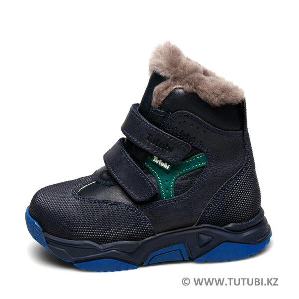 Ботинки из натурального меха и кожи синие MP002XB00SRJR