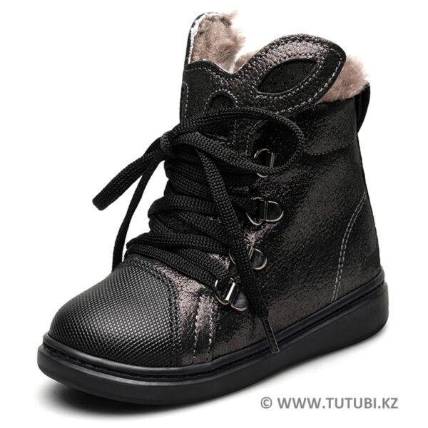 Ботинки из натурального меха и нубука черные MP002XG01DJ1R