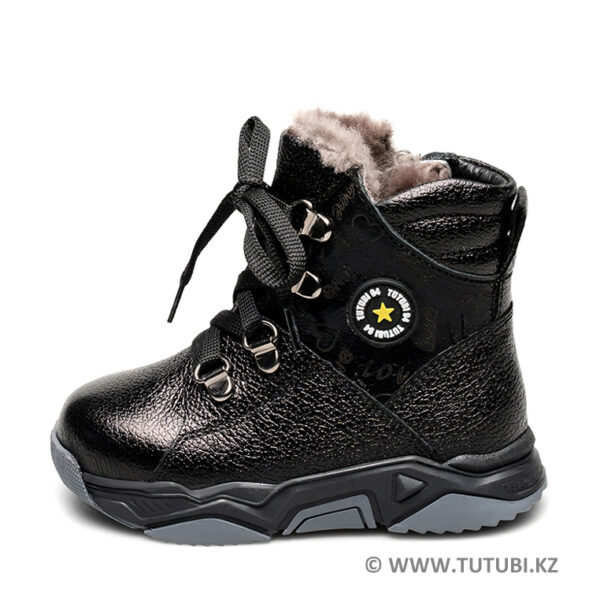 Ботинки из натурального меха и кожи черные MP002XB00SRGR