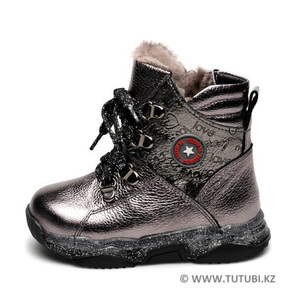Ботинки из натурального меха и кожи серебистые MP002XG01DIXR