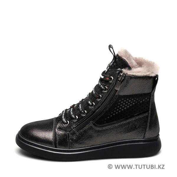 Ботинки из натурального меха и нубука черные MP002XG01DJ5R